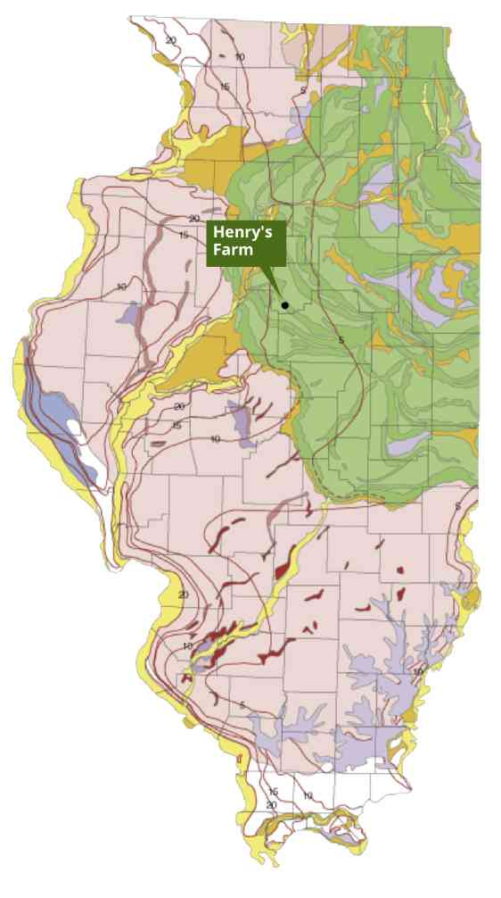 illinois geology map showing wisconsin period glaciers